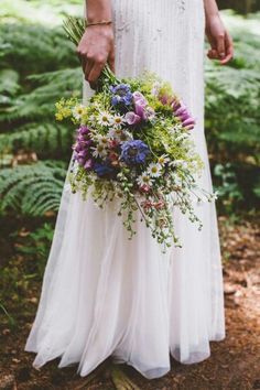 Boho/Shabby Chic Wedding Bouquet Arranged With Some Of The Following: Blue Scabiosa, Pink Foxglove, Monte Cassino Daisies, Additional Florals, & Several  Varieties Of Greenery & Foliage·····