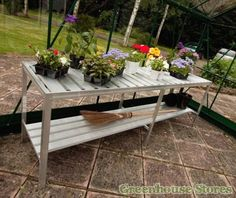 Halls Luxury Staging Bench 6ft Long  http://www.greenhousestores.co.uk/Halls-Luxury-Staging-Bench-6ft-Long.htm