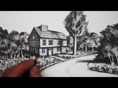 How to Draw a House in 2-Point Perspective in a Landscape - YouTube