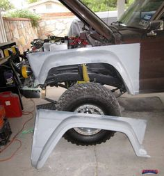 74 up Truck/Wagon front fenders. 2 inch larger wheel opening and 2 inch bulge/flare. Full bolt on flanges for fitting to stock location. Race skins for panel mounting available without flanges for less money. Please call to order these. Trophy Truck, Jeep Wagoneer, Jeep Truck, Custom Trucks, Lifted Trucks, Body Parts, Jeeps, 4x4, Larger