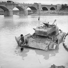 A Sherman tank being recovered from the river Biferno near Campo-Marino, October 1943.