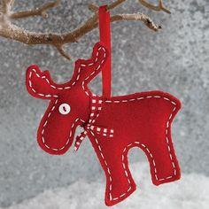 Red felt 2014 Christmas reindeer ornament - Christmas tree decor