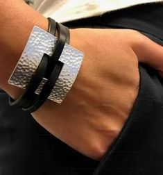 Dainty Wrist Jewelry - For skinny arms. Hammered Square Leather Bracelet - For dainty wrists. Black or gray leather bracelet. This listing is for only one. The handmade leath - Leather Cuffs, Leather Necklace, Grey Leather, Leather Cord, Leather Bracelets, Custom Leather, Leather Tooling, Leather Bags, Vintage Leather