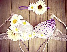 Purple Daisy Garden Rave Bra by TheLoveShackk on Etsy, $75.00