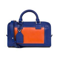 LOEWE Amazona 28 Bag Blue/Orange ($2,450) ❤ liked on Polyvore featuring bags, handbags, satchels, orange handbags, blue leather purse, satchel handbags, blue satchel handbags and genuine leather handbags