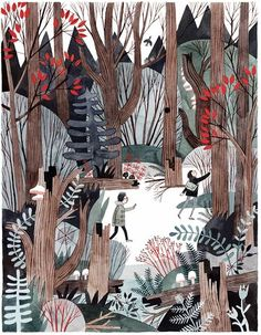 Wildwood by the collaborative efforts of Colin Meloy of the Decemberist and his wife, illustrator Carson Ellis. The illustrations in the book were created with pen, well ink, and gauche. Art And Illustration, Illustrations And Posters, Forrest Illustration, Watercolor Illustration Children, Poster Xxl, Instalation Art, Grafik Design, Art Inspo, Collages