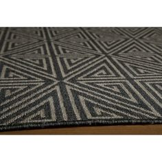 "Indoor/Outdoor Diamond Accent Rug - Charcoal (2'3""x7'6""), Rich Charcoal"