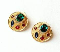 Vintage Rhinestone Earrings. Gold. Red. Green. Holiday