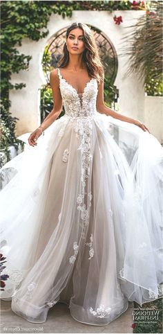 Moonlight Couture fall 2019 bridal sleeveless lace straps sweetheart neckline embellished bodice a line ball gown wedding dress 1 romantic princess tiered skirt chapel train blush mv - Moonlight Couture Fall 2019 Wedding Dresses Wedding Inspirasi Cute Wedding Dress, Fall Wedding Dresses, Bridal Dresses, Prom Dresses, Gown Wedding, Couture Dresses, Wedding Outfits, Wedding Makeup, Modest Wedding