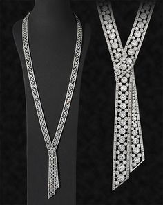 Diamond and platinum sautoir designed as a continuous diamond-set ribbon with a central knot motif, J E Caldwell Philadelphia, circa 1920