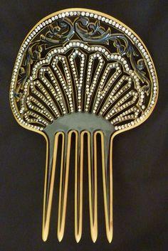 Edwardian Celluloid Rhinestone Vintage Hair Comb circa 1905-1910