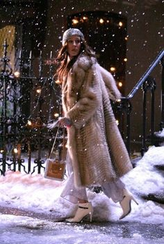 The time she went out on New Year's Eve and added a fur coat, sequin hat, and pristine white booties to her pajamas to run through a blizzard.