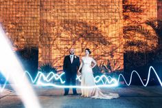 Light painting the bride and groom on New Year's Eve - Huntsville Wedding Photographer | James and Company Photography