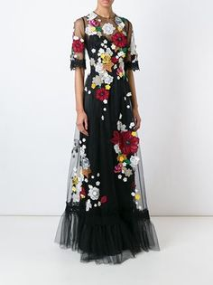 Dolce & Gabbana Embroidered Flower Tulle Gown - Julian Fashion - Farfetch.com