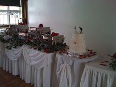 Buffet set up with Baseball themed cake