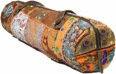 Ananda Recycled Vintage Kantha Orange Yoga Bag by WhatsUpCheeChee
