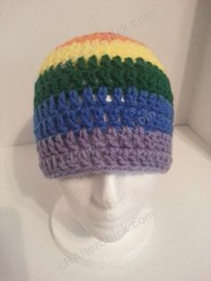 crochet beanie hats for men | ... Pride Striped Beanie Hat Crochet Pattern for Teen Womens Men sizes (2