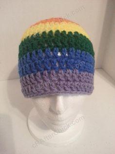 crochet beanie hats for men   ... Pride Striped Beanie Hat Crochet Pattern for Teen Womens Men sizes (2