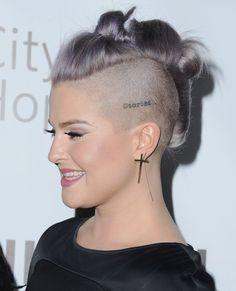Hot Hair Colors, Hair Colour, Mohawk Hairstyles, Haircuts, British Celebrities, Kelly Osbourne, Head Tattoos, First Tattoo, Short Hair Cuts