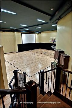 Indoor home basketball gym where my kids and i come to for Basement sport court