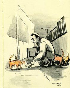 Image: Nakata from Kafka on the Shore by Haruki Murakami|村上春樹 Haruki Murakami Books, Kafka On The Shore, Art Drawings, Disney Characters, Fictional Characters, 1, Fan Art, Japanese, Cats