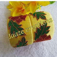 Silk Thread Bangles Design, Silk Bangles, Bridal Bangles, Thread Jewellery, Handmade Jewellery, Beaded Necklace Patterns, Jewelry Patterns, Fabric Basket Tutorial, Bangles Making