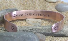 Going Away Gift ~ LOVE is greater than DISTANCE ~ Long distance Relationship Bracelet wife girlfriend ~ copper or silver toned aluminum by BonniesBlessings on Etsy Long Distance Relationship Bracelets, Going Away Gifts, Wife And Girlfriend, Cuff Bracelets, Copper, Unique Jewelry, Handmade Gifts, Silver, Etsy