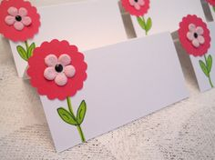 Daisy Place Cards Pink Flower Whimsical Food by EllieMarieDesigns, $7.50