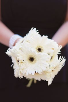 white gerbras, to mimic our Wedding day? Just white to match our black and white theme. Black And White Theme, Our Wedding Day, Vows, Bouquet, Bouquet Of Flowers, Bouquets, Wreaths, Nosegay