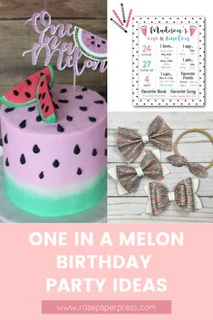 The best ideas for hosting a modern and fun One in a Melon 1st birthday featuring watermelon themed invitations, cake, cookies, outfits, party favors, decor, high chair banners, cake toppers, thank you cards and stickers, and more. Kids Birthday Themes, Birthday Invitations Kids, 1st Birthday Parties, Girl Birthday, Melon Cake, One In A Melon, Party Guests, Cake Cookies, Holiday Cards