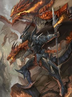 Verminaard the Dragon Master. He led a dragon army that conquered half the world. He vanished without a trace 10 years ago, with his army. Fantasy Dragon, Fantasy Armor, Medieval Fantasy, Dragon Armor, Dragon Knight, Red Dragon, Dark Fantasy Art, Fantasy Character Design, Character Art