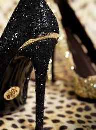 Sparkly, black YSL heels. To die for.