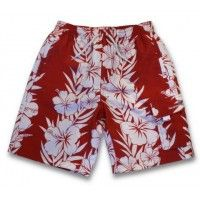 Kid's UV Board/ Swim Shorts, Red Hawaiian - UPF 50+ Sun Protection