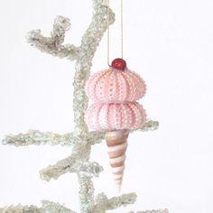 Seashell Ornament Pink Sea Urchins Strawberry Ice Cream Cone Cherry on Top Coastal Christmas Decor