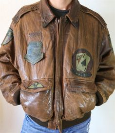 AUTHENTIC AVIREX USA Vintage Flight Garment Jacket Leather Jacket New York Brown…