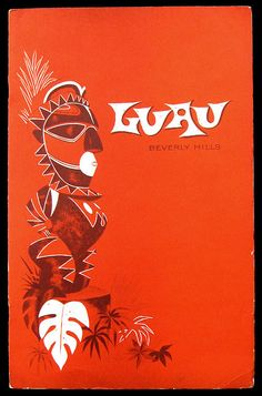 1956 cocktail menu, front cover cocktail menu from Luau - Beverly Hills, CA