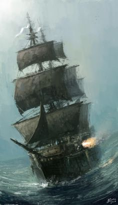 CG Creations by Gilgamesh Jun Mao Pirate ship swaying at Sea - really love the line work and cannon firing perfect detail