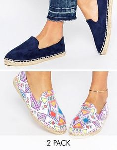 ASOS JEANIE Two Pack Espadrilles