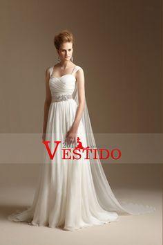 2014 correas blusa plisada vestido de una cinta Line Wedding Wirh con cuentas de gasa cola capilla
