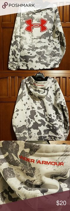 Under Armour camo hoodie Grey and white camo hoodie with red Under Armour logo.   EUC, no tears or stains, smoke-free home Under Armour Shirts & Tops Sweatshirts & Hoodies