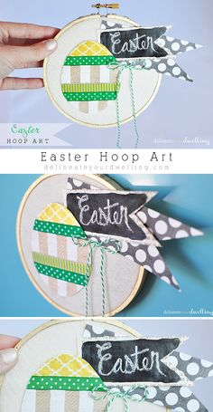 How to create simple Easter Hoop Art using an Embroidery Hoop and ribbon! I love quick and easy projects like this. Delineateyourdwelling.com