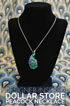 Designer Inspired Dollar Store Peacock Necklace Tutorial - Mad in Crafts