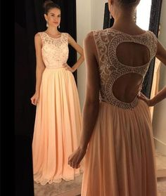 Custom Made Round Neck Chiffon Sequin Long Prom Dress, Evening Dress