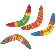 australian Boomerang craft - cardboard paint and boomerang template