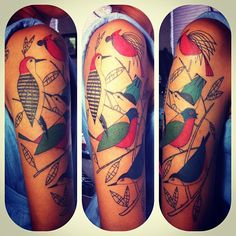 Not my usual style, but a super fun piece! Finished for now, Lili's Charlie Harper boids! #tattoo #tattoos #twelve28tattoo by jessversus, via Flickr
