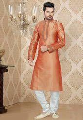 Light Peach Art Silk Readymade Kurta With Churidar