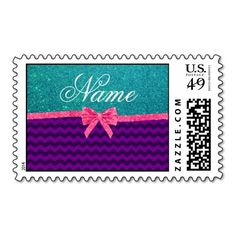 Custom name turquoise glitter purple chevrons bow stamp