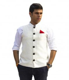White Nehru Jacket with a Pocket Square