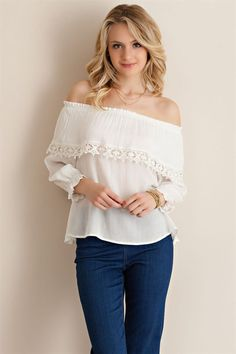 5fb5a7b95eb935 Off the Shoulder Top. White Off ShoulderShoulder TopsShoe BoutiqueRuffle  BlouseTrending OutfitsTunic ...