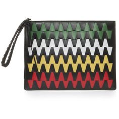 ELENA GHISELLINI Liz Graphic Pouch ($440) ❤ liked on Polyvore featuring bags, handbags, clutches, tribal print purse, genuine leather purse, leather purses, tribal print handbags and multi colored leather handbags